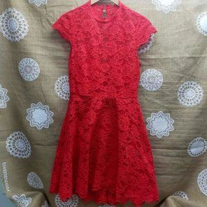 NWT FOREVER NEW Red Lina Lace Hi Low Skater Dress RRP$170